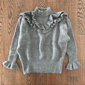 ZARA Grey Wool Blend Flounce Sweater